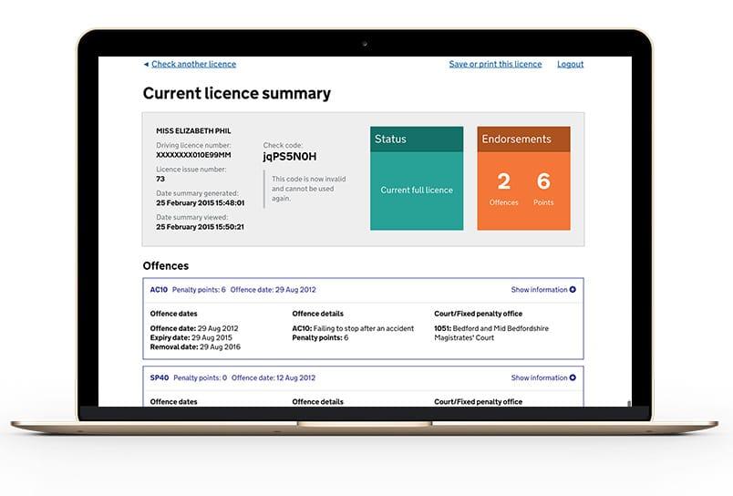 licence-check results dvla